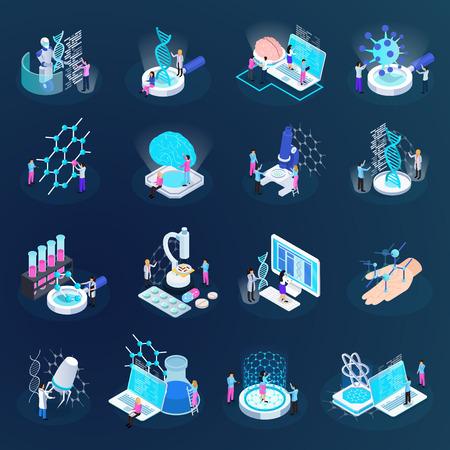 Wissenschaftler während der Entwicklung der Nanotechnologie mit isometrischen Symbolen einzeln auf dunkler Hintergrundvektorillustration
