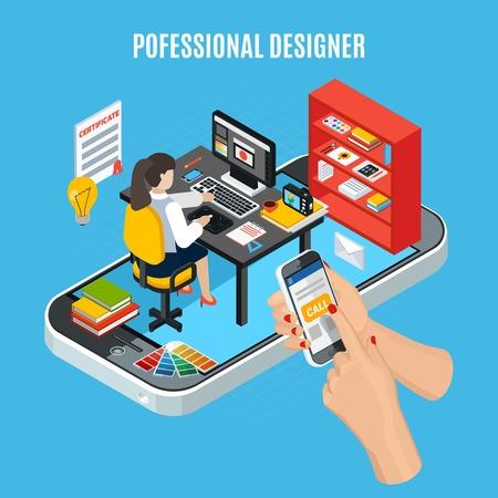 Graphic design service concept with professional designer at work on blue background 3d vector illustration Illustration