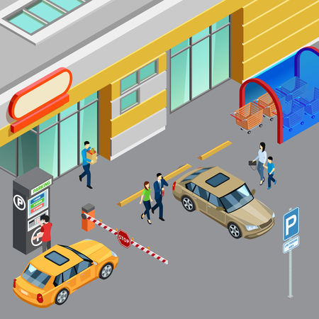 Composition isométrique colorée avec distributeur automatique sur la zone de stationnement près du centre commercial illustration vectorielle 3d Vecteurs