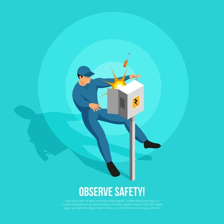 Isometric electrician background with flat character of lineman in uniform electric power panel and editable text vector illustration