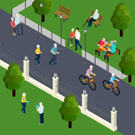 Leisure activity of pensioners at outdoor sport board game with friends walking in park isometric vector illustration