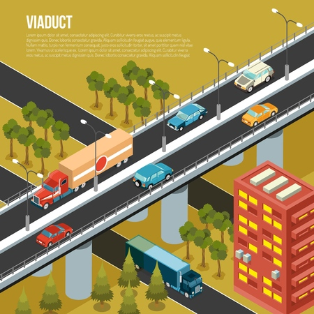 Vehicular viaduct bridge carrying traffic over busy outskirts city streets and adjacent valley isometric composition vector illustration 일러스트