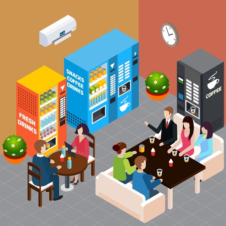 People having rest at cafe with vending machines selling hot coffee soft drinks and snacks 3d isometric vector illustration Stock Illustratie
