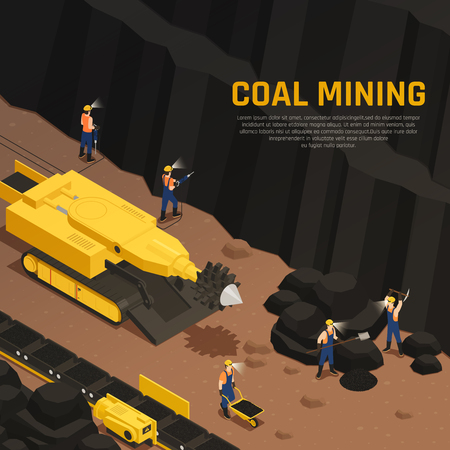 Miners during coal production in tunnel with drilling machine and conveyor equipment isometric composition vector illustration Illustration
