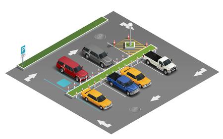 Composizione isometrica realistica del trasporto con l'automobile della berlina del veicolo del salone dell'automobile del furgone nell'illustrazione di vettore del parcheggio all'aperto