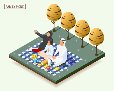 Arabic family having picnic and taking photos isometric composition 3d vector illustration
