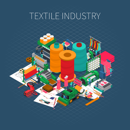 Textile industry isometric composition with editable text description and composition of images with sewing spool and needles vector illustration