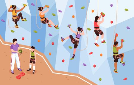 Composizione isometrica della parete di arrampicata con vista dell'allenatore e degli alpinisti che si arrampicano sull'illustrazione vettoriale della parete di roccia artificiale
