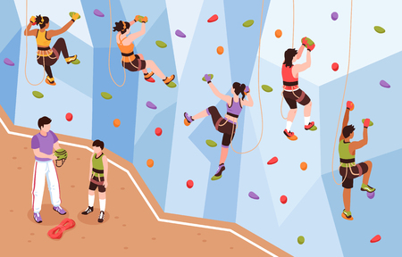 Isometric climbing wall composition with view of coach and mountain climbers climbing up artificial rock wall vector illustration