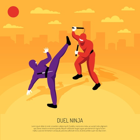 Unbeatable ninja warrior duel with stickman character action game advertising poster isometric composition cityscape background vector illustration