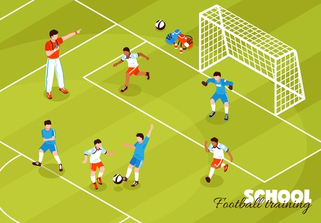 Isometric school sport kids team football composition with soccer field and coach with children playing footy vector illustration
