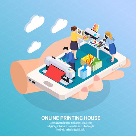 agencia de publicidad en línea composición isométrica con casa de impresión en la pantalla del teléfono inteligente en la ilustración del vector del cartel de la mano humana