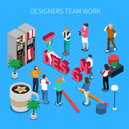Designers teamwork isometric concept with shoes and boots symbols vector illustration