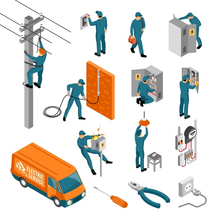 Isometric electrician profession set of isolated icons with tools electrical facilities and human characters of workers vector illustration Çizim