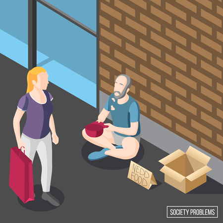 Society problems isometric background with hungry beggar sitting on sidewalk and begging vector illustration