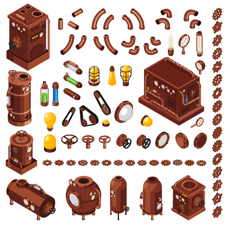 Steampunk art constructor isometric  collection of design elements inspired by 19th century steam powered machinery vector illustration