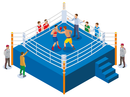 Box isometric composition with view of outdoor boxing ring with two athletes referee and fan characters vector illustration