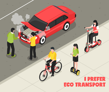Eco transport isometric poster with people riding scooter bicycle past smoking machine vector illustration