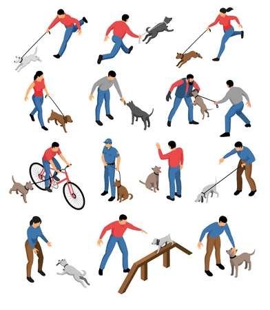 Isometric cynologist set of isolated icons and images of dogs and people during education training routine vector illustration