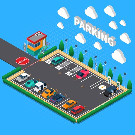 Perpendicular parking lot with plug in electric vehicles ecological charging stalls attendant booth isometric composition vector illustration Illustration