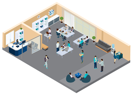 Office isometric composition with staff of department during work negotiation and coffee break vector illustration Ilustração