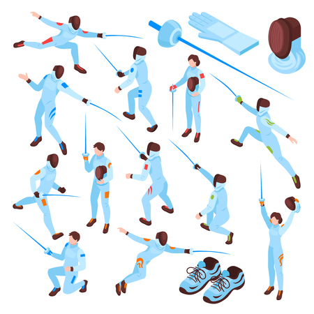 Ensemble isométrique de sport d'escrime d'escrimeurs masculins et féminins avec des épées dans différentes positions illustration vectorielle isolée