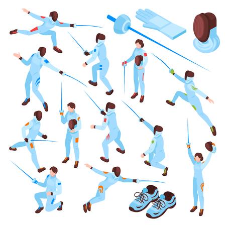 Szermierka sport izometryczny zestaw szermierzy płci męskiej i żeńskiej z mieczami w różnych pozycjach na białym tle ilustracji wektorowych