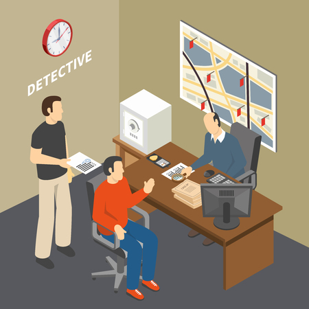 Solving crime investigator collecting information talking to witness in law enforcement agency detectives office isometric vector illustration