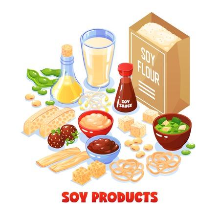 Conjunto de concepto de diseño de productos de soja de paquete con harina de soja y platos de la ilustración de vector de dibujos animados de soja Ilustración de vector