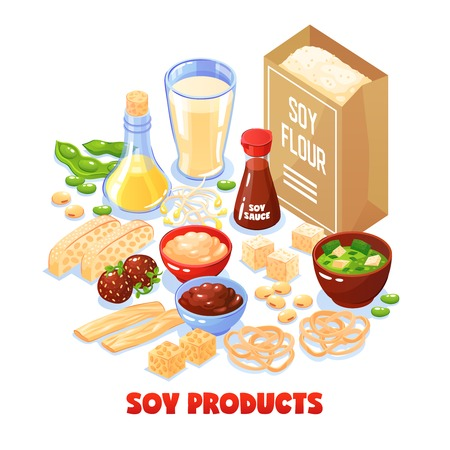 Soy products design concept set of package with soya flour and dishes from soybean cartoon vector illustration