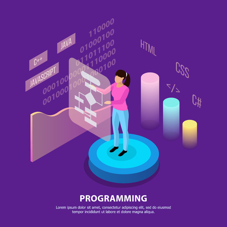 Freelance programming isometric background composition with infographic images people characters and editable text with colourful images vector illustration Illustration