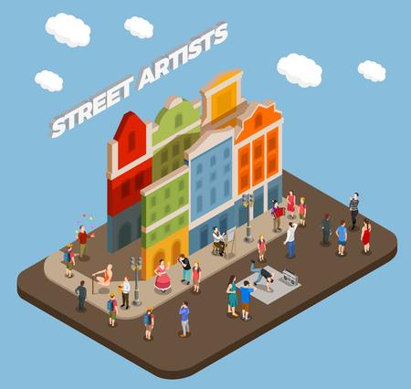 Composizione isometrica di artisti di strada con musicisti attori e maestri di trucchi durante la performance nell'illustrazione di vettore della città