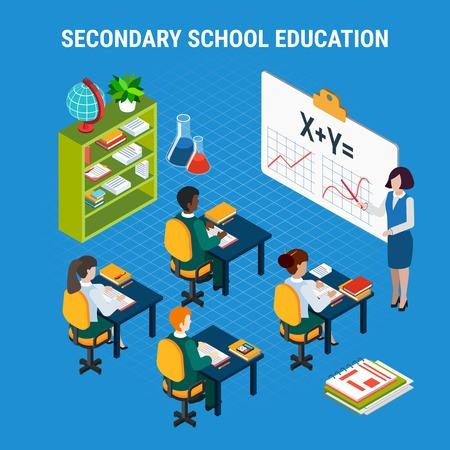 Studenti della scuola secondaria e insegnante nell'illustrazione isometrica di vettore 3d di concetto di istruzione dell'aula Vettoriali
