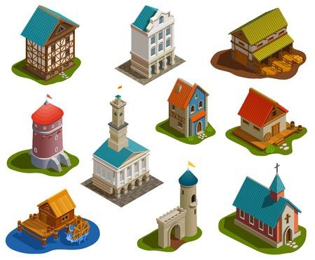 Isometrische Gebäude der mittelalterlichen Siedlungsarchitektur, die mit der isolierten Vektorillustration der Burgkirchturmbrücken-Wassermühlenfarm gesetzt werden