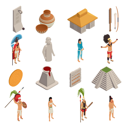 Maya civilization ancient objects and native persons set of isometric icons isolated on white background vector illustration Illusztráció