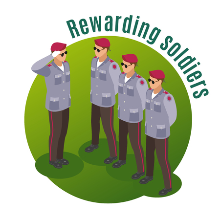 Military special forces isometric composition with rewarding soldiers in parade uniform on round green background vector illustration
