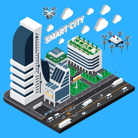 Smart city isometric composition with transport and buildings symbols vector illustration Иллюстрация