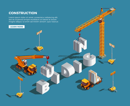 Construction vehicles creating word from white letters and lighting equipment isometric composition on blue background vector illustration