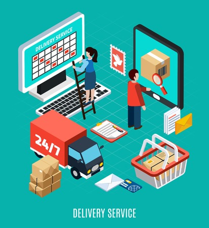 Mail isometric concept schematic implementation of work delivery and delivery service headline vector illustration Stock Illustratie