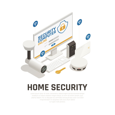 Home security design concept with video surveillance system and fire alarm working online by wifi service isometric vector illustration