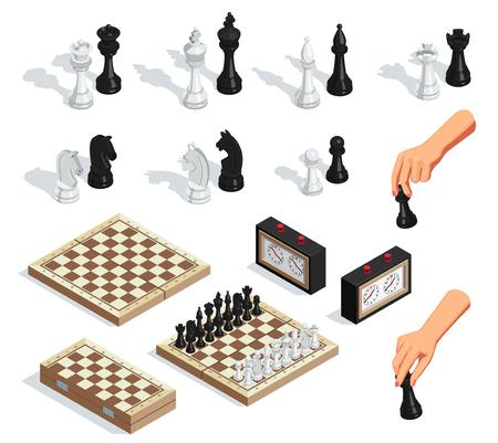Izometryczny zestaw szachów z szachownicami król królowa rycerz ręcznie ruchomy zegar pionek na białym tle ilustracji wektorowych
