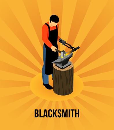 Blacksmith during metal work isometric concept on radial orange background vector illustration