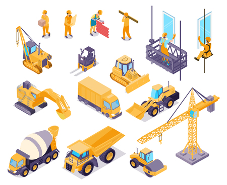 Construction isometric icons set with workers and various equipment for house building isolated on white background 3d vector illustration