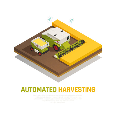 Agriculture automation smart farming composition with editable text and images of combined harvester thresher in field vector illustration
