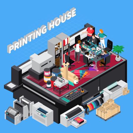 Digitaldruckhaus mit Team der neuesten Technologiedesigner, das Lösungen für Kundenprojekte zur isometrischen Zusammensetzungsvektorillustration bereitstellt Vektorgrafik