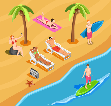 People on beach vacation isometric composition with self portrait sun bathing and surfing vector illustration