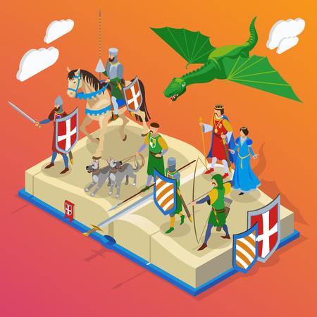 Composizione isometrica medievale con personaggi di piccole persone di cavalieri e draghi guerrieri freddi con illustrazione vettoriale di grande libro