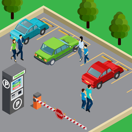 Vending machine on parking zone and people near their cars 3d isometric vector illustration Vectores