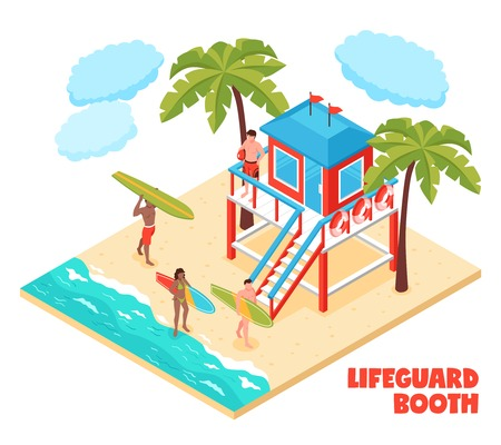 Lifeguard booth on south beach isometric composition with saver and surfers holding surfboards vector illustration