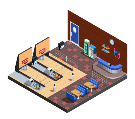 Bowling club interior isometric composition with game zone cafe and rack of administrator vector illustration